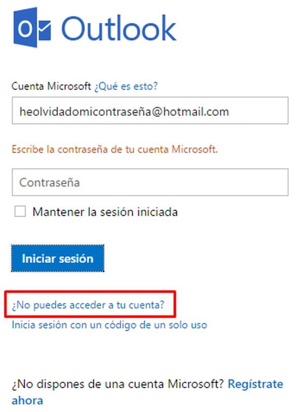 Problemas para iniciar sesión en Hotmail c