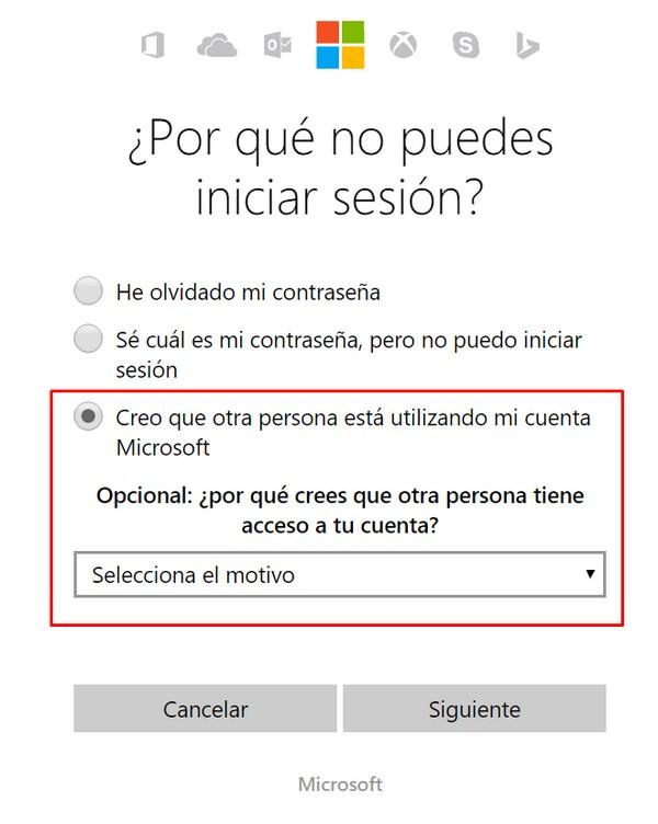 Problemas para iniciar sesión en Hotmail h
