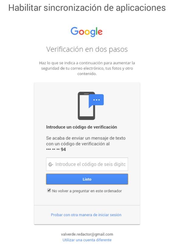 código verificación gmail bluestacks